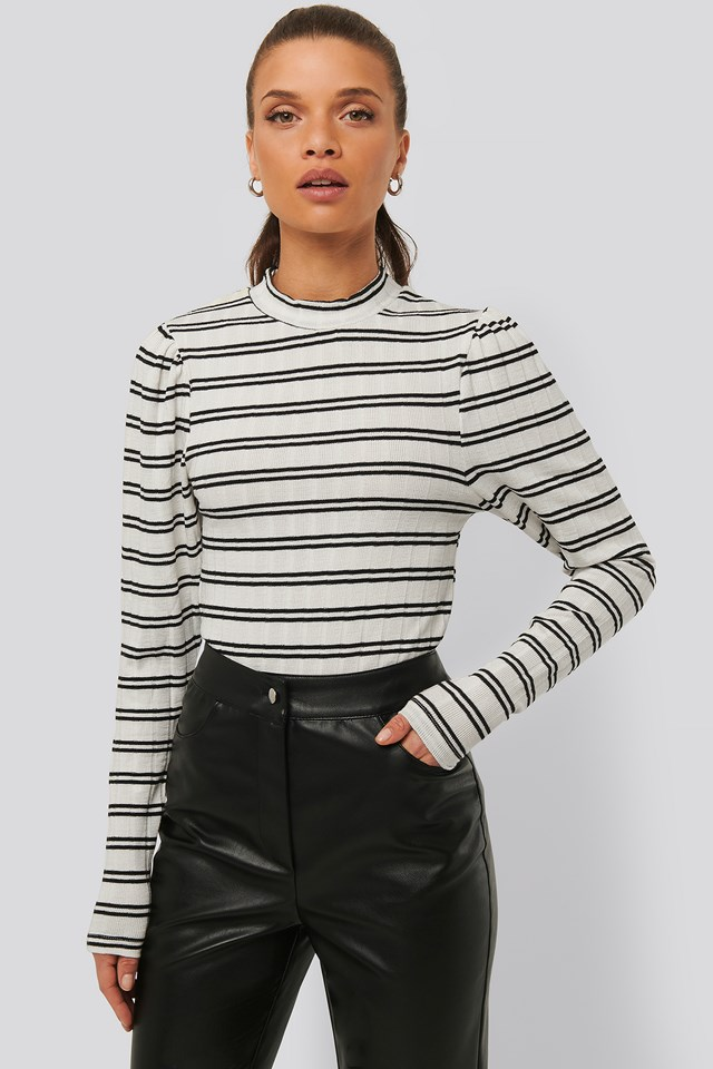Striped Puff Shoulder Top Stripe Black/White