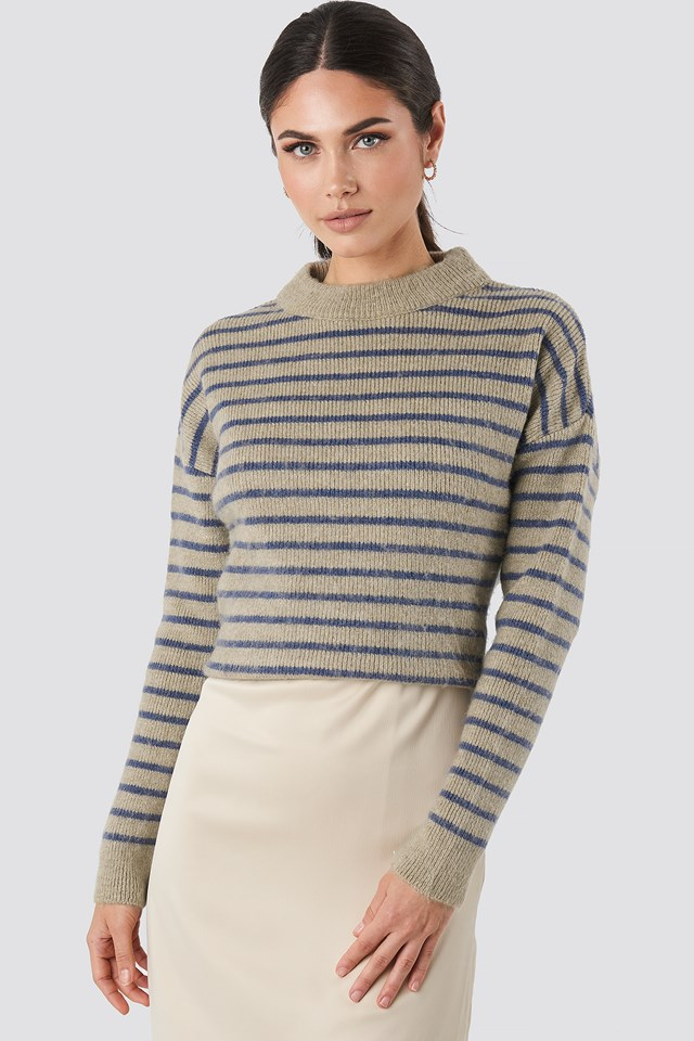 Striped Round Neck Knitted Sweater Blue/Beige