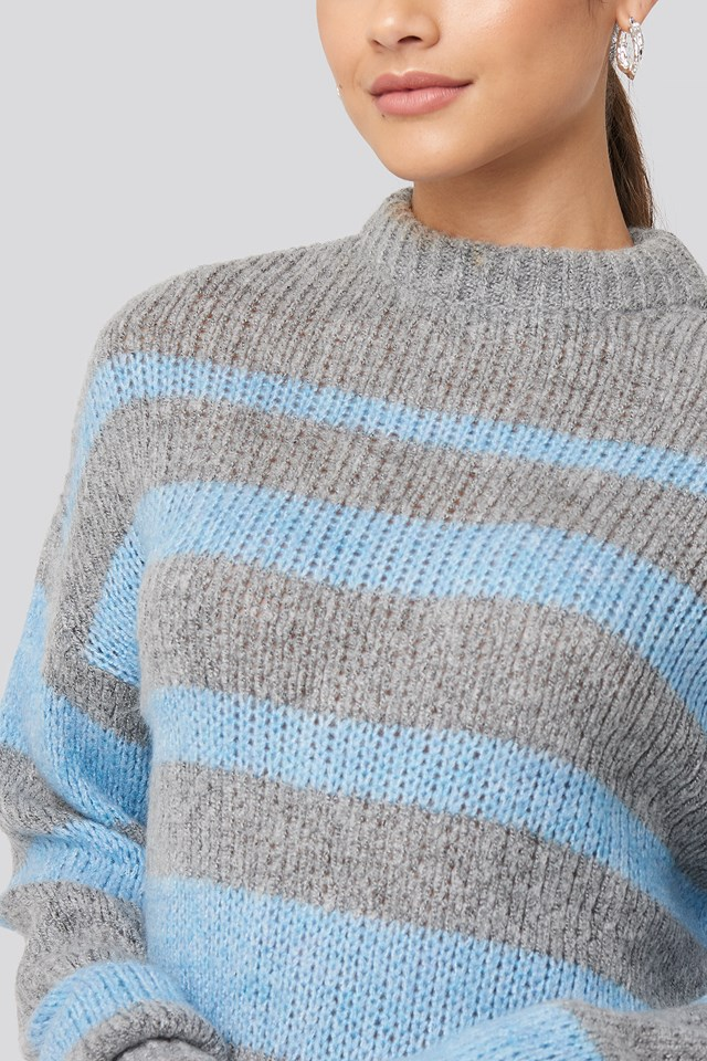 Striped Round Neck Oversized Knitted Sweater Blue