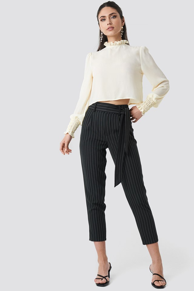 Striped Tied Waist Pants Black