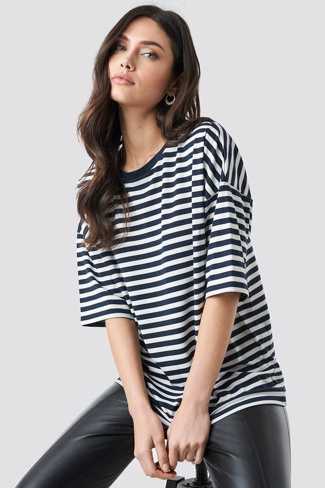 Striped Oversized Viscose Tee Navy