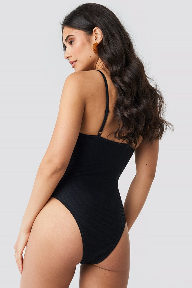Structured Front Drawstring Swimsuit Black