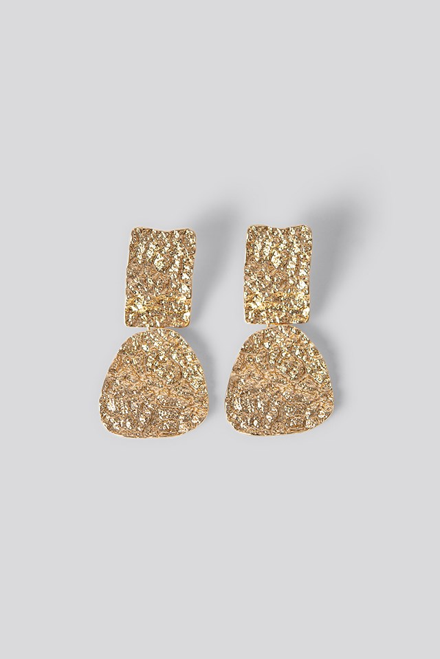 Structured Hanging Earrings Gold