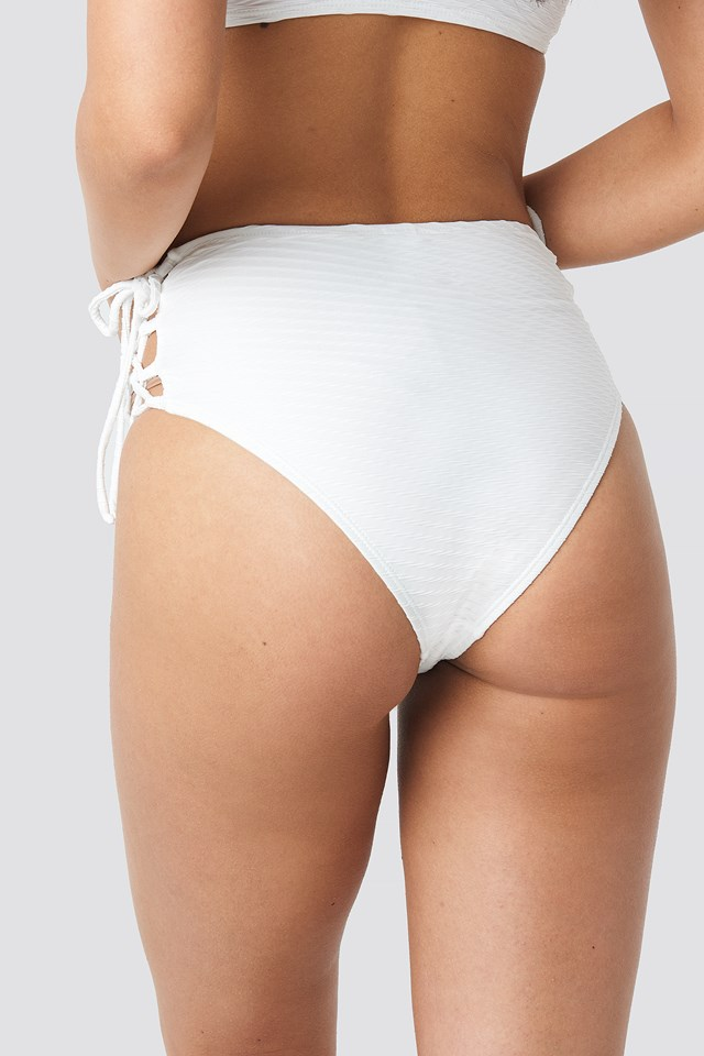 Structured Lace Up Bikini Panty Offwhite