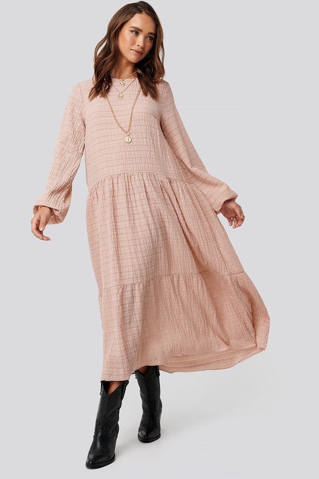 Flowy Structured Maxi Dress Dusty Pink