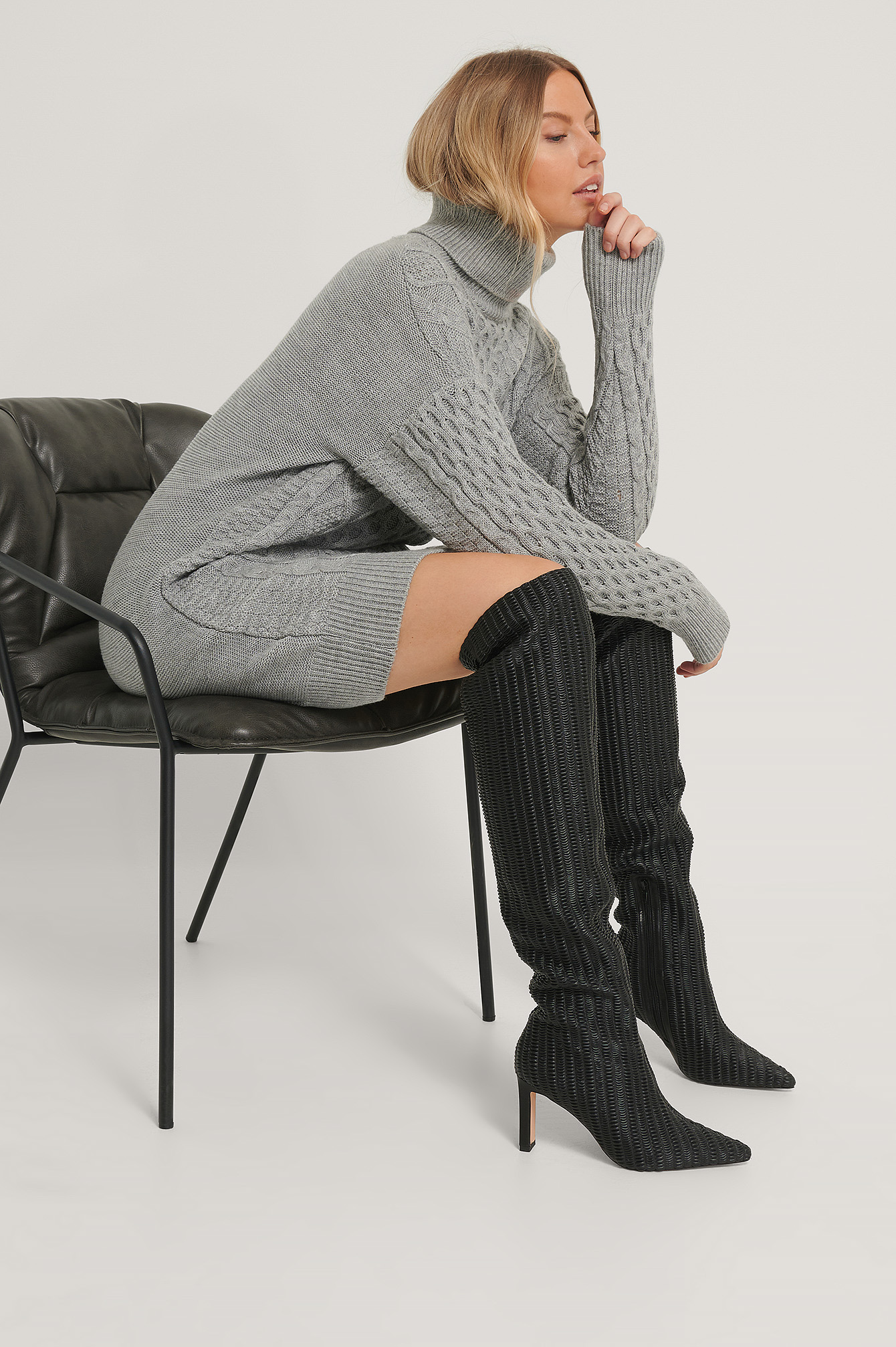 Black Structured Over Knee Boots