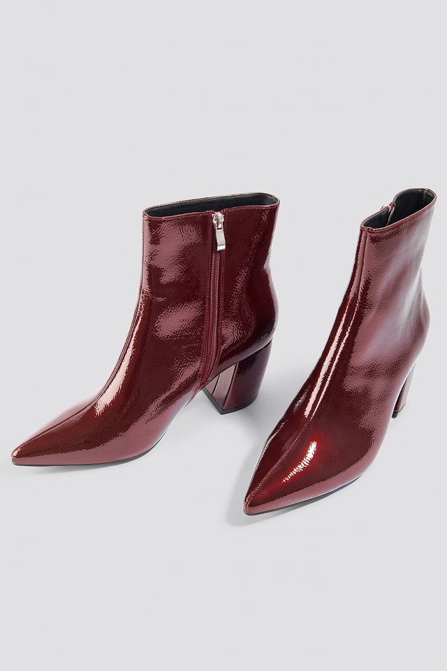 Structured Patent Mid Heel Boots Burgundy