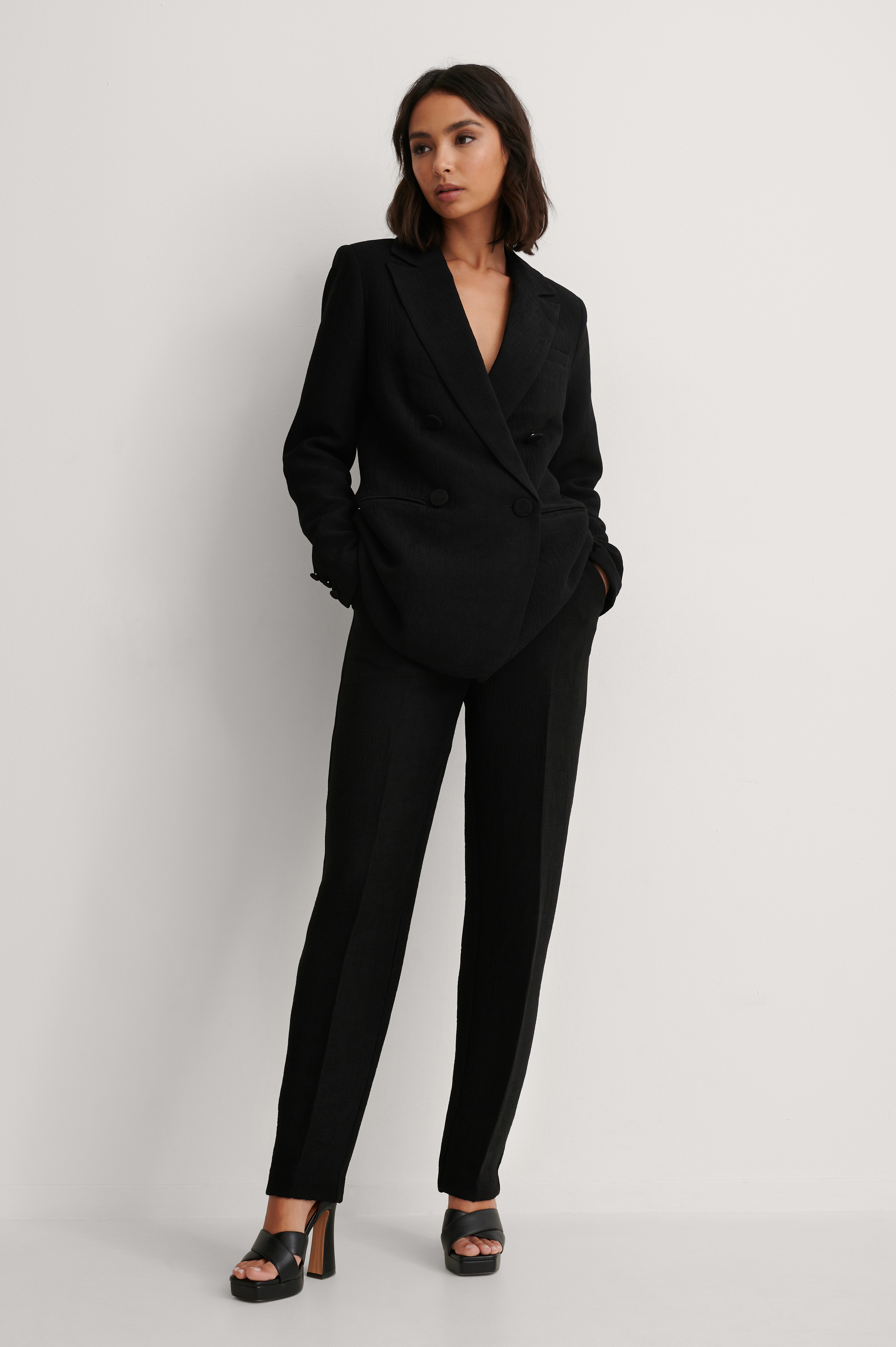 Black Structured Suit Pants