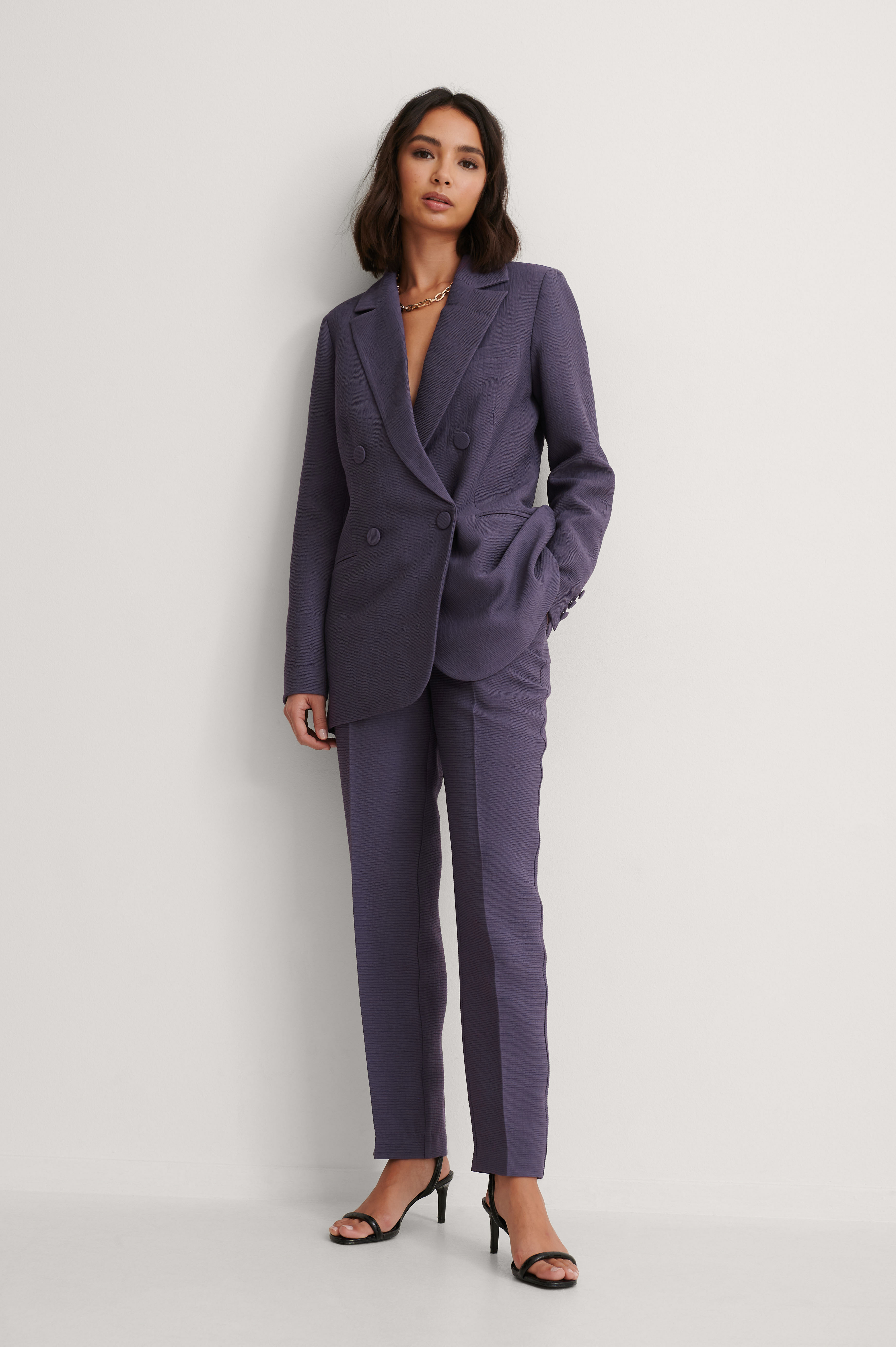 Purple Structured Suit Pants