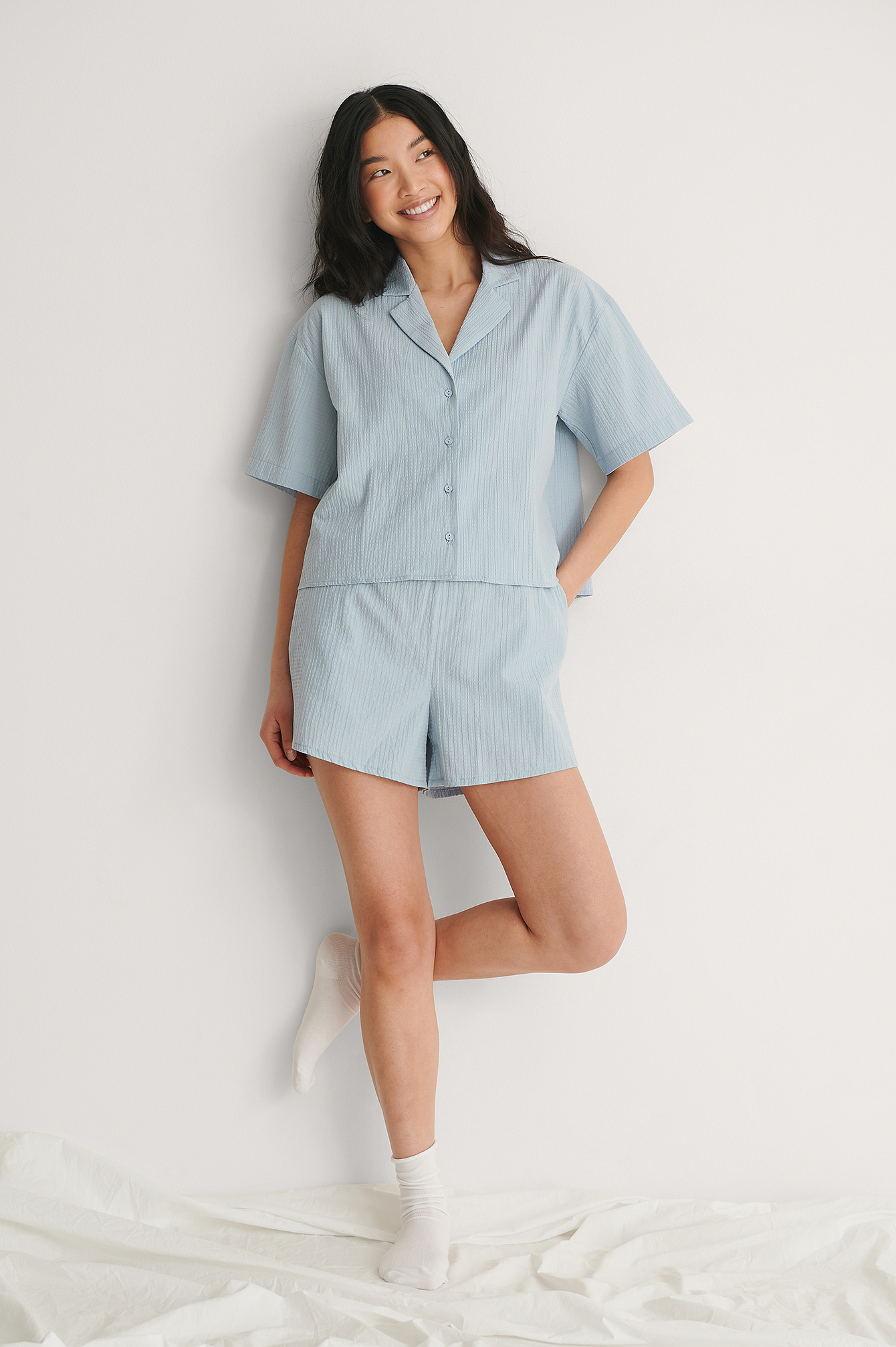 Blue Structured Wide Organic Lounge Shorts
