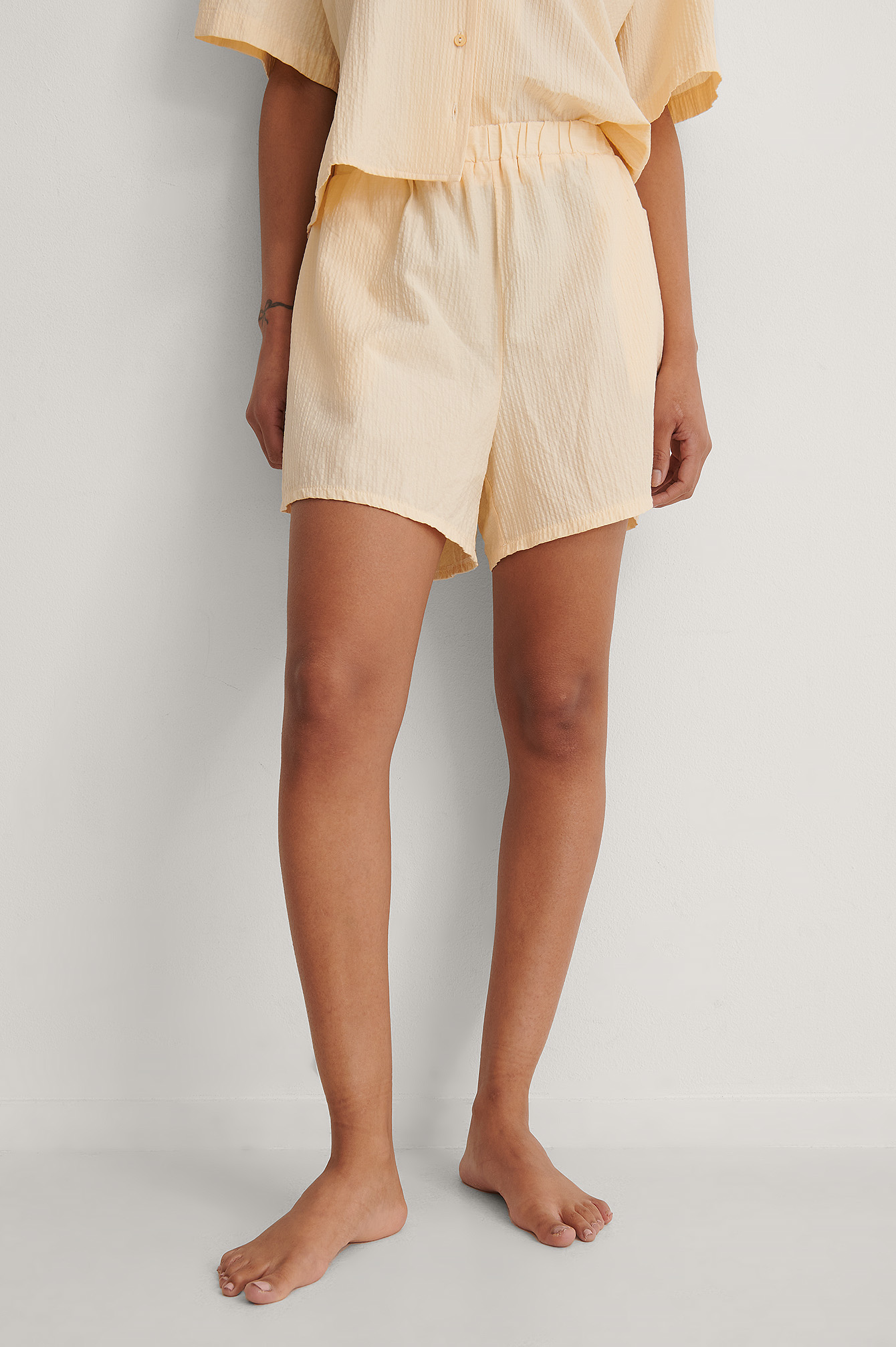 Rose Tan Structured Wide Organic Lounge Shorts