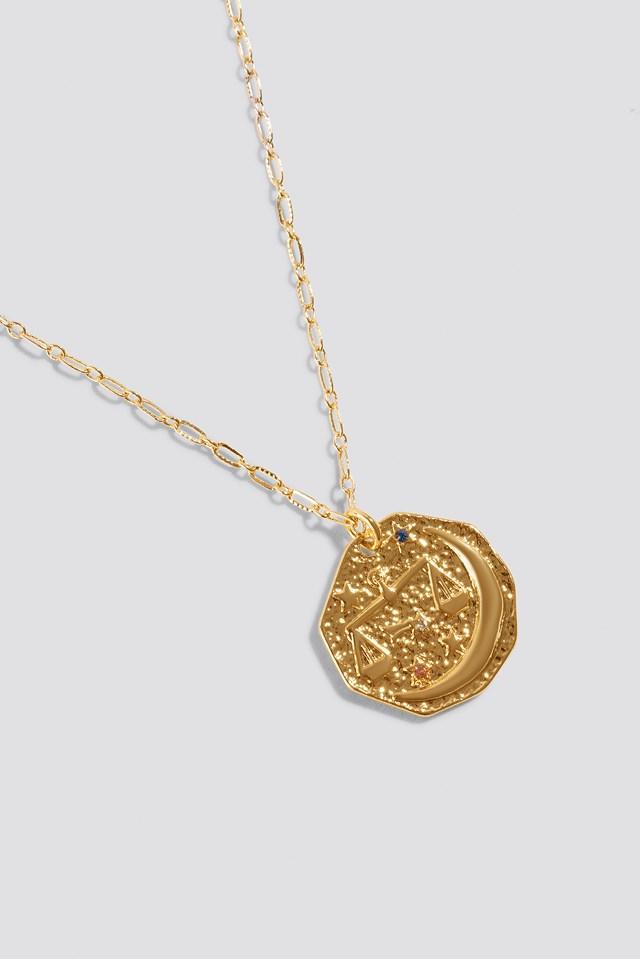 Structured Zodiac Libra Necklace Gold