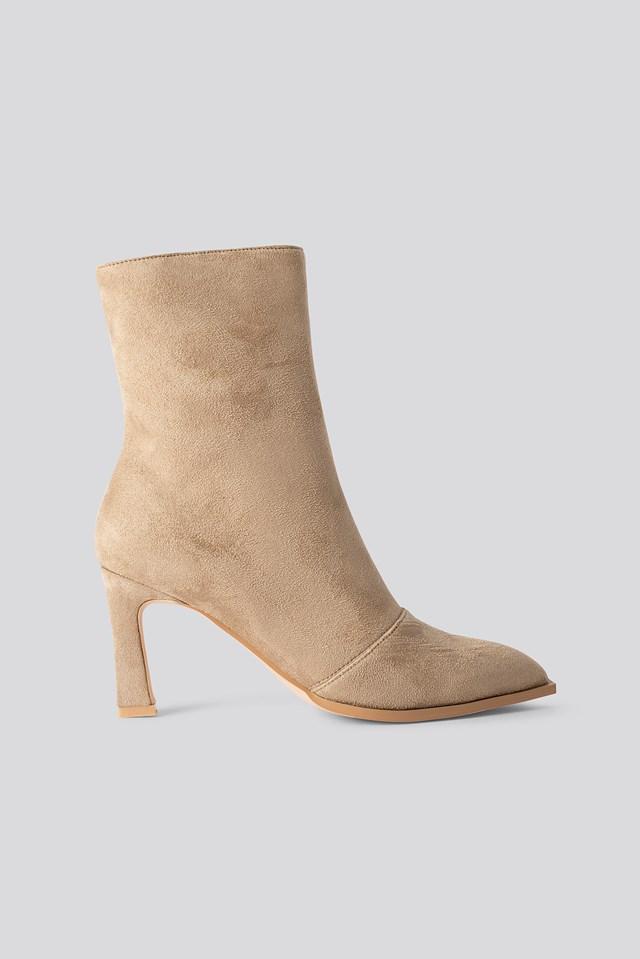 Suede Look Heeled Boots Beige