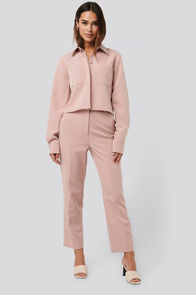 Tailored Cropped Suit Pants Dusty Pink