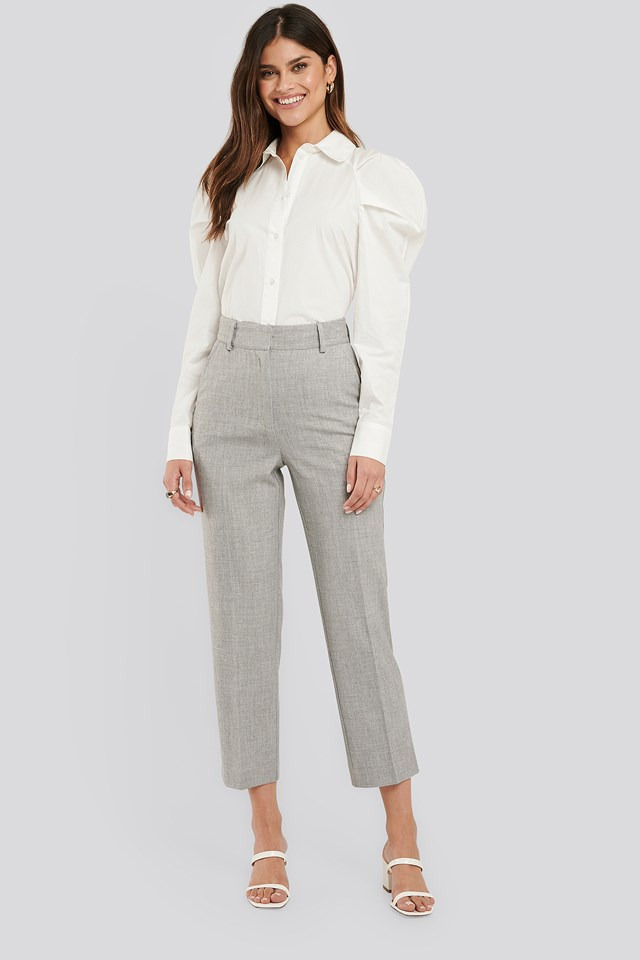 Tailored Fitted Suit Pants Grey