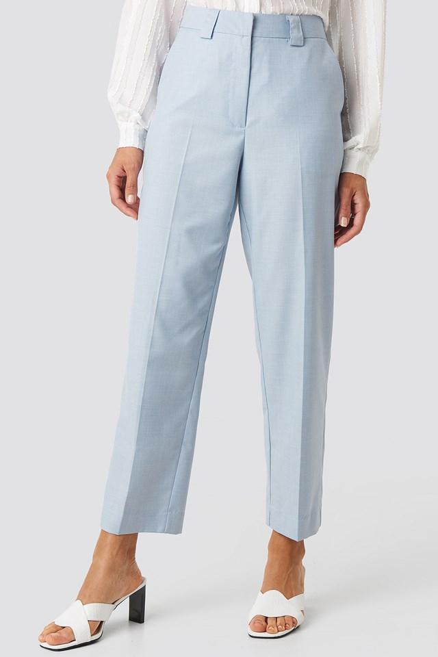 Tailored Mid Rise Suit Pants Light Blue