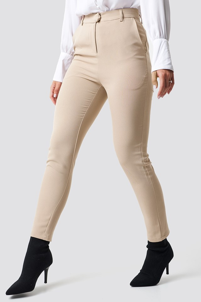 Tailored Straight Suit Pants Sand