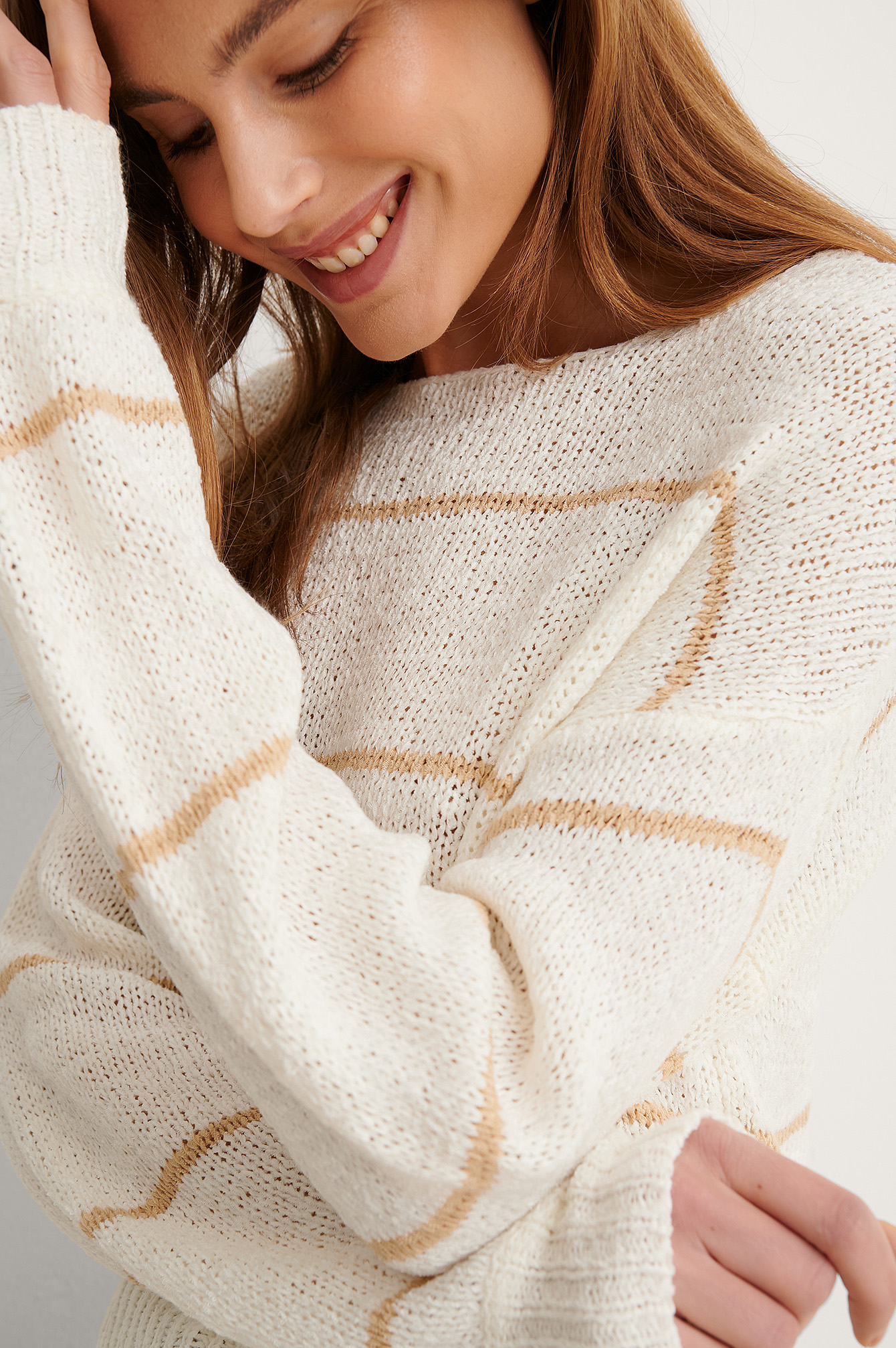 White/Beige Tape Yarn Short Stripe Knitted Sweater