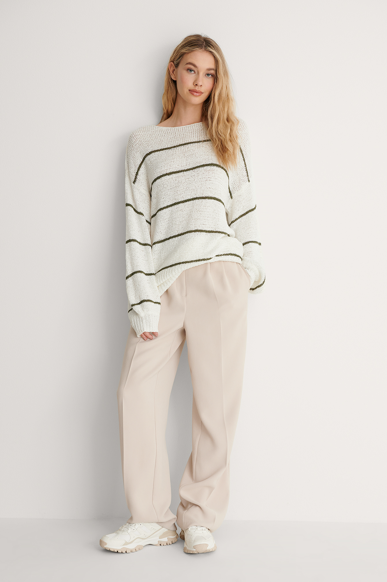 White/green Tape Yarn Stripe Knitted Sweater