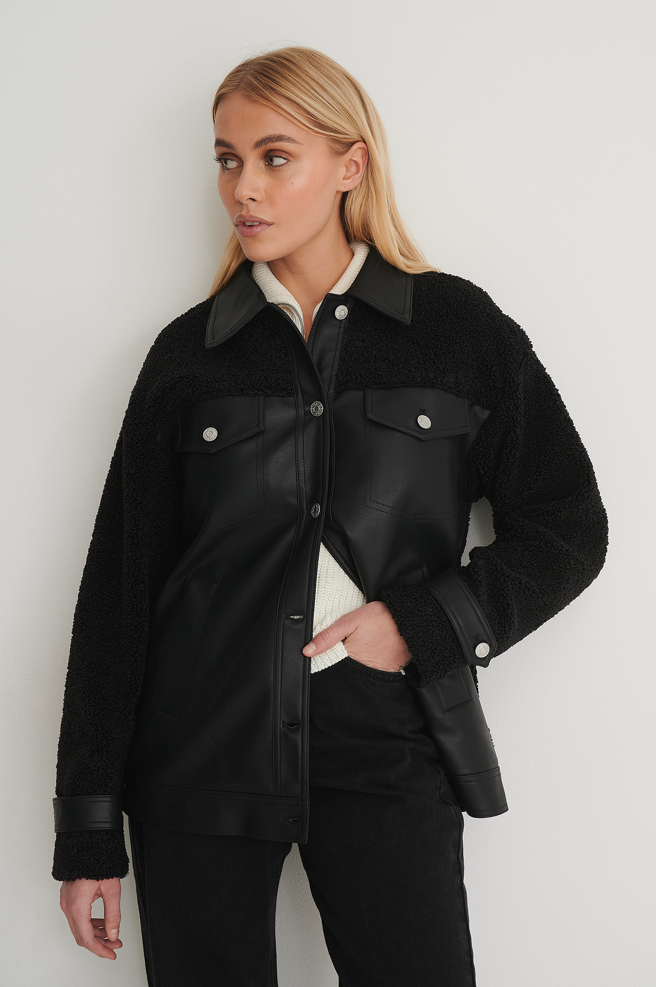 Black Teddy Detail PU Jacket