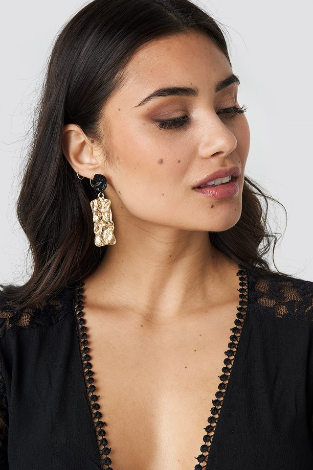Textured Contrast Plate Earrings Gold