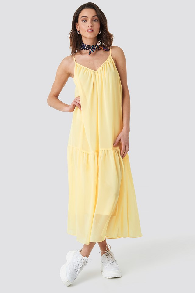Thin Strap Ankle Dress Light Yellow