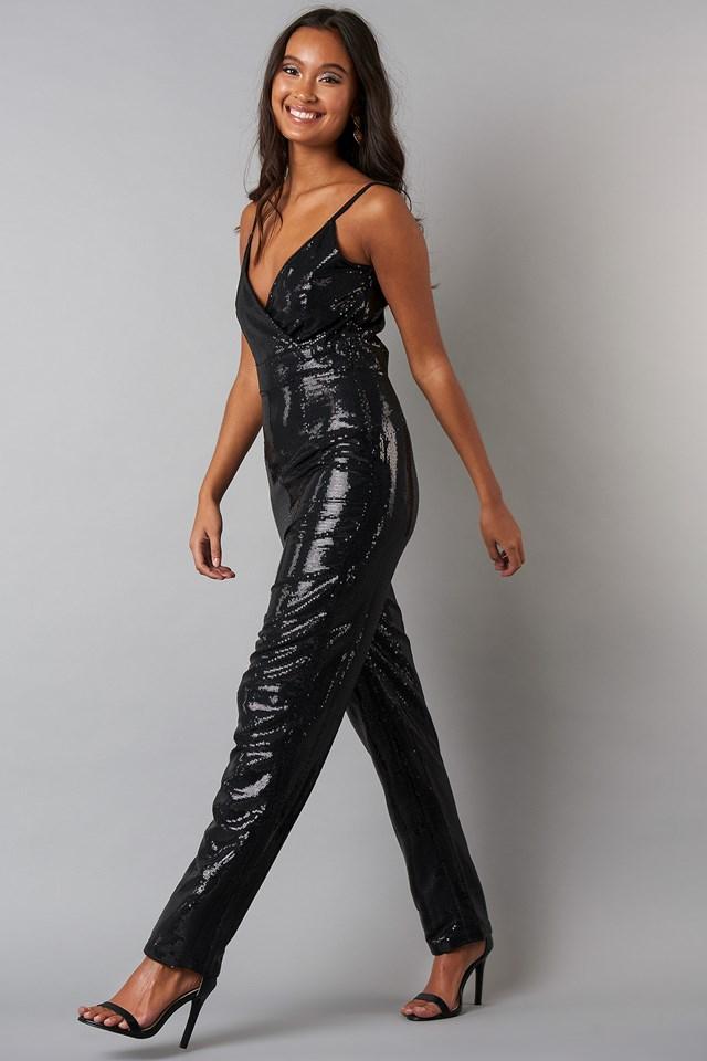 Thin Strap Sequins Jumpsuit Black