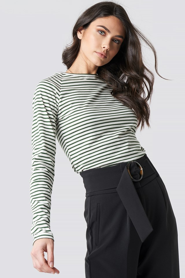 Thin Striped Long Sleeve Top Green