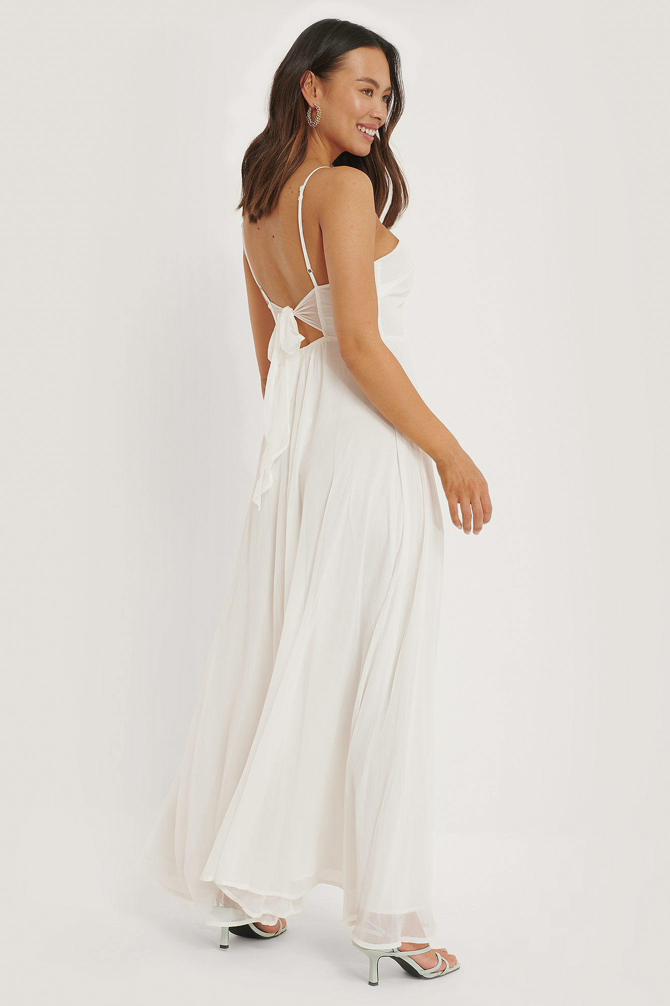 Offwhite Tie Back Detail Maxi Dress