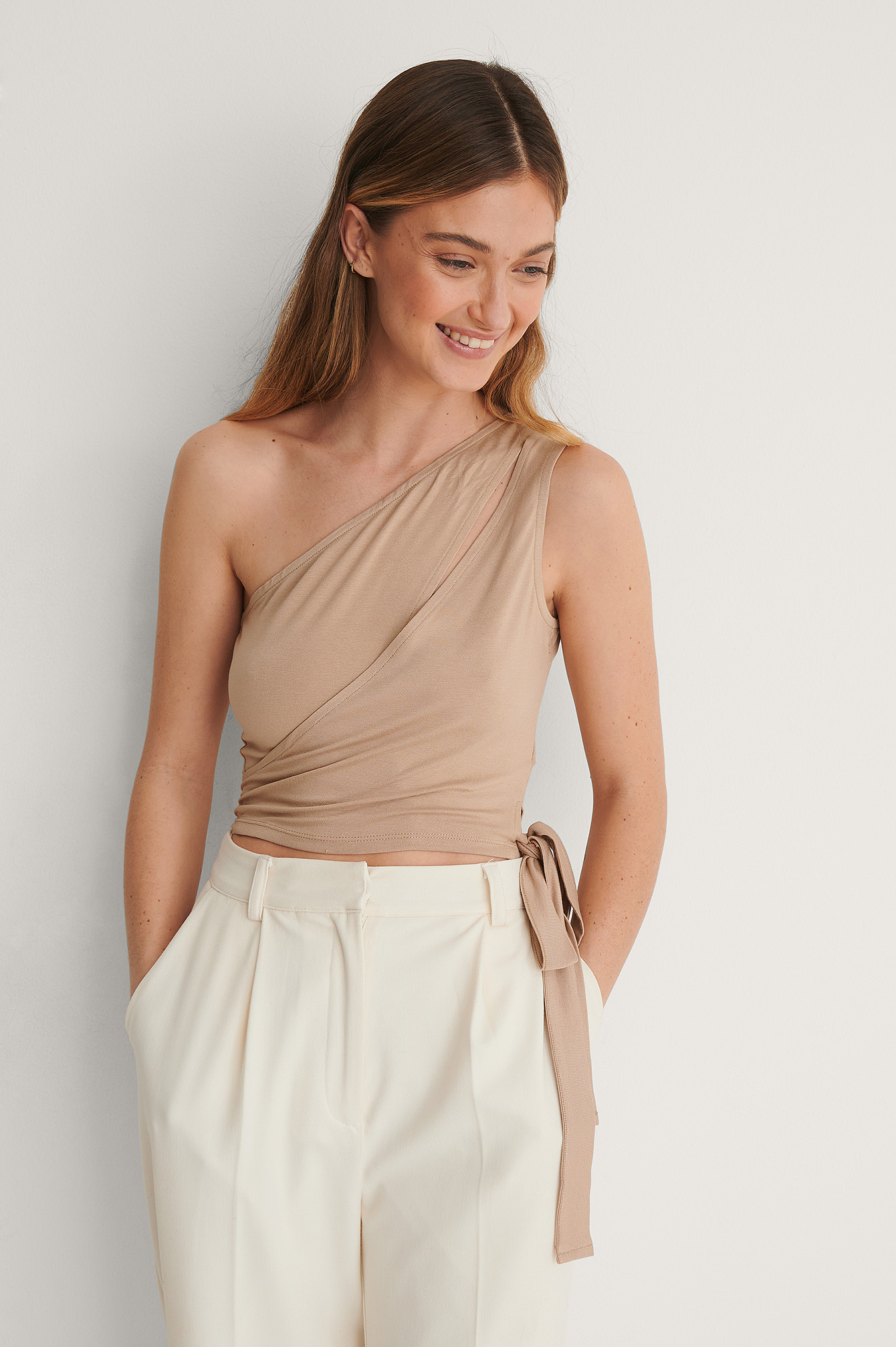 Taupe Beige Tie Detail Crop Top