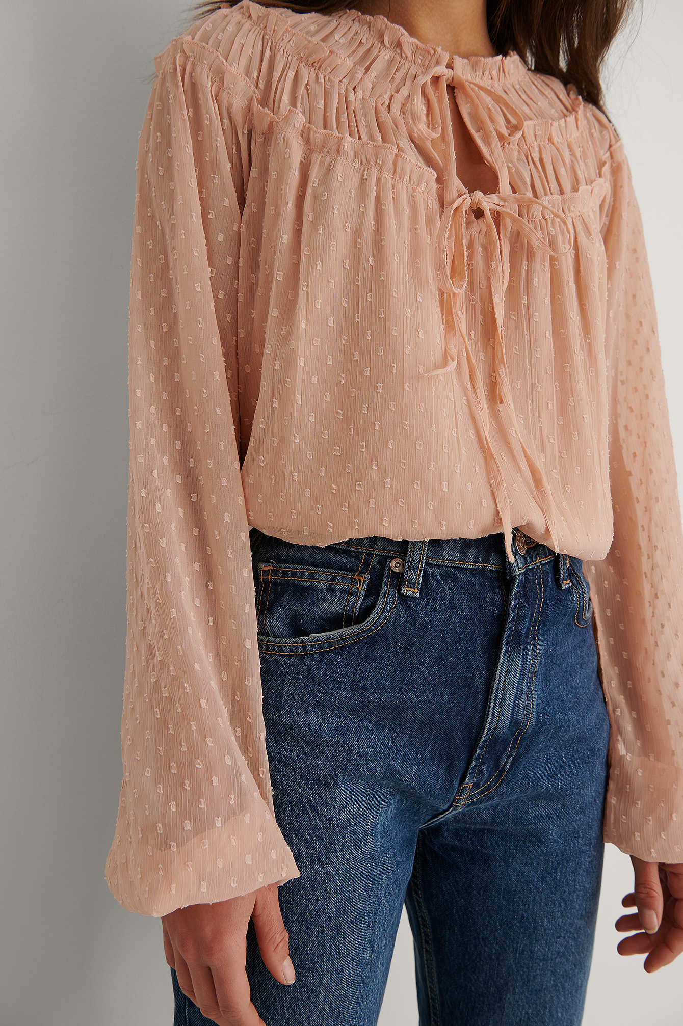 Light Pink Tie Front Dobby Blouse