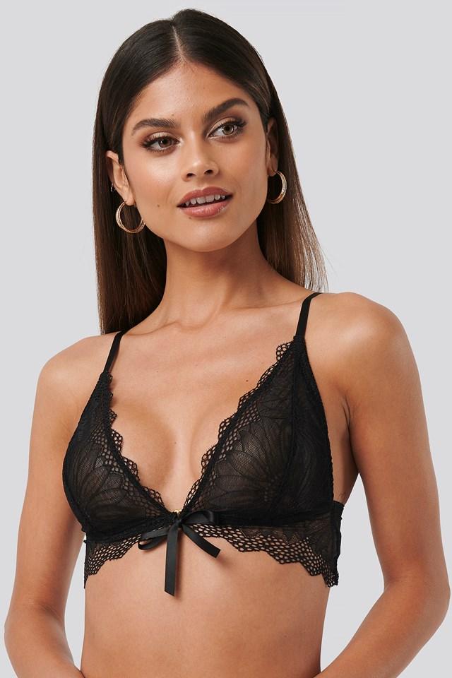 Tie Front Lace Bra Black
