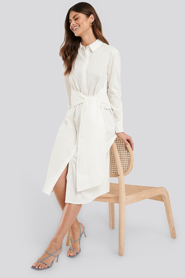 Tie Front Shirt Dress White
