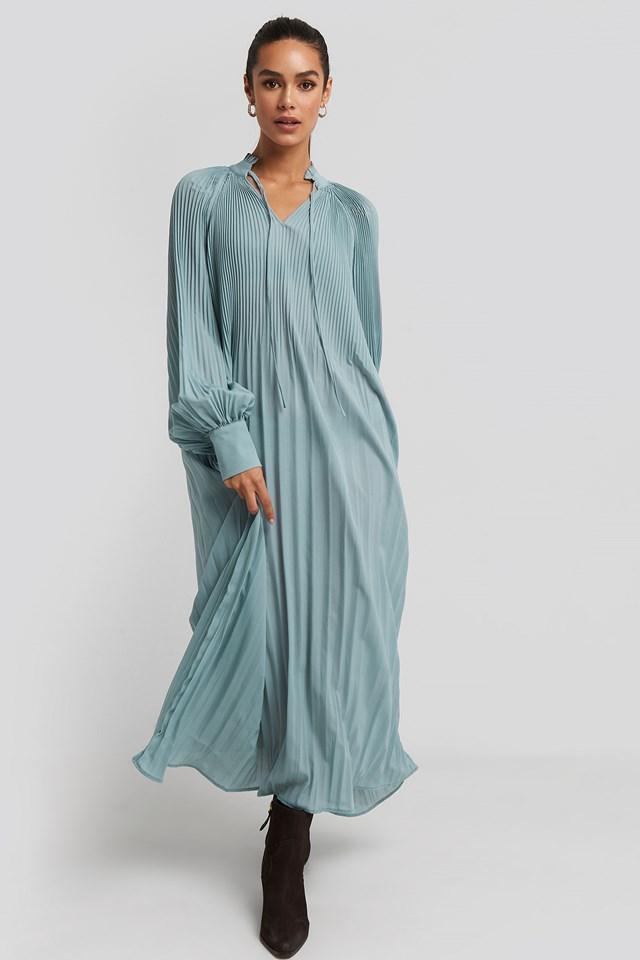 Tie Neck Pleated Dress Dusty Blue