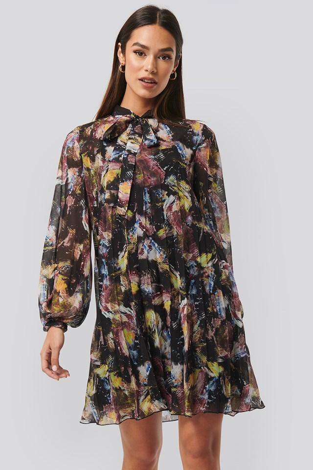Tie Neck Pleated Mini Dress Print