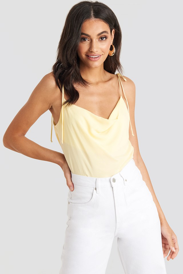 Tie Strap Cami Top Pale Yellow