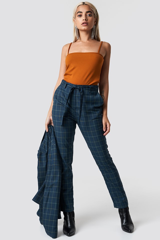 Tie Waist Checked Suit Pants NA-KD Classic
