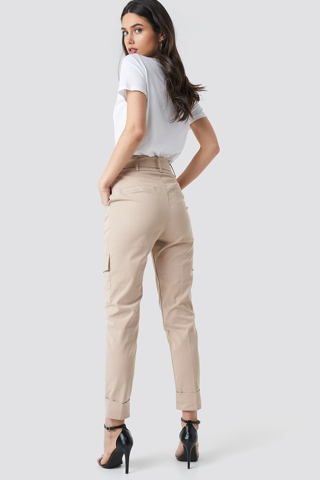 Tie Waist Patch Pocket Pants Beige