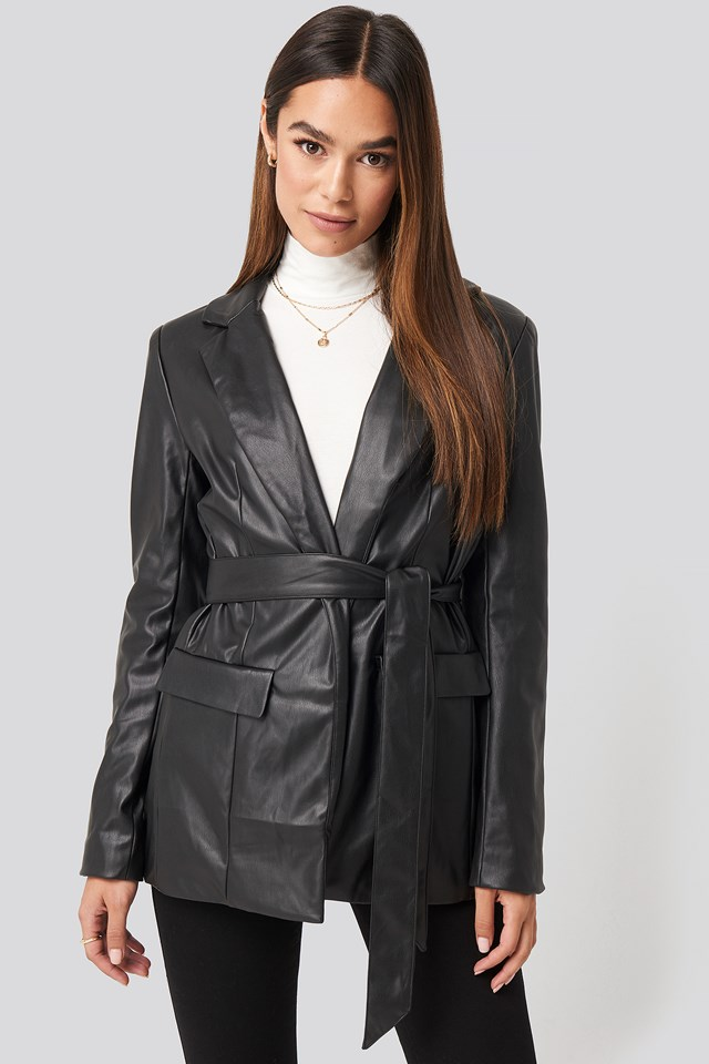 Tied Front Faux Leather Blazer NA-KD Trend