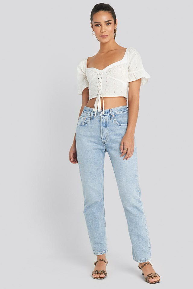 Tied Front Frill Sleeve Top White