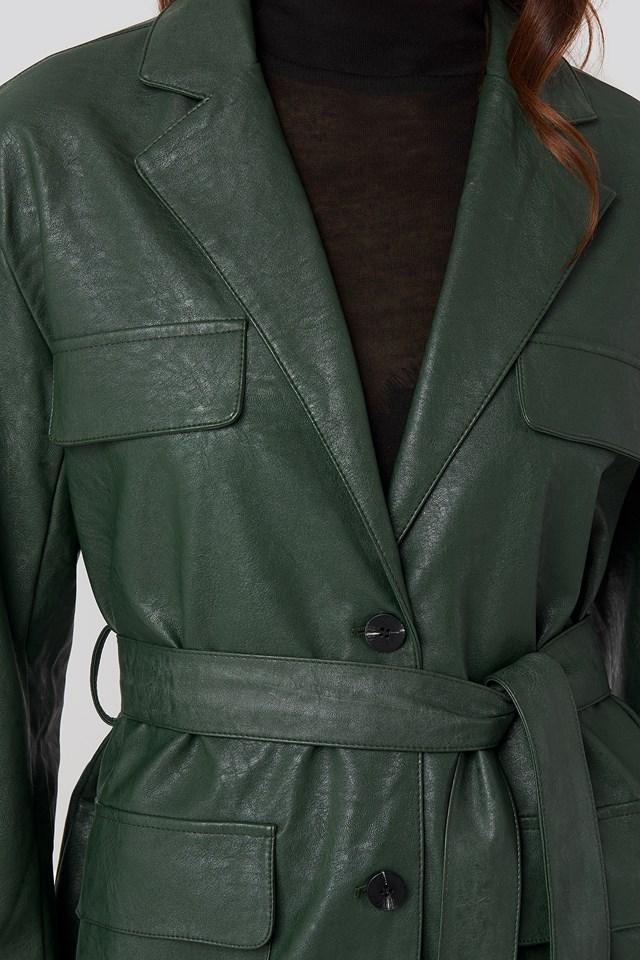 Tied Waist Pu Jacket Green