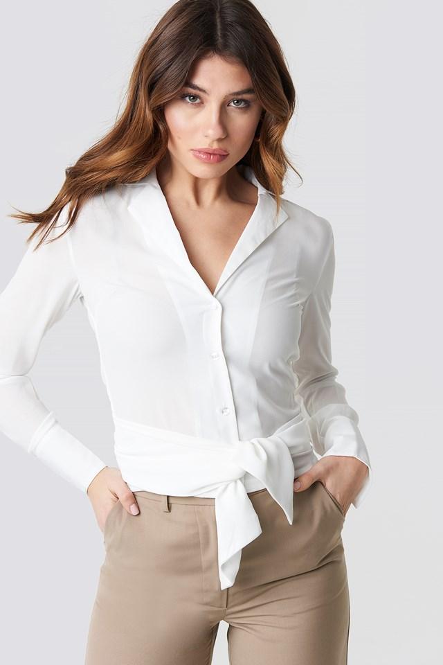 Tied Waist Shirt White