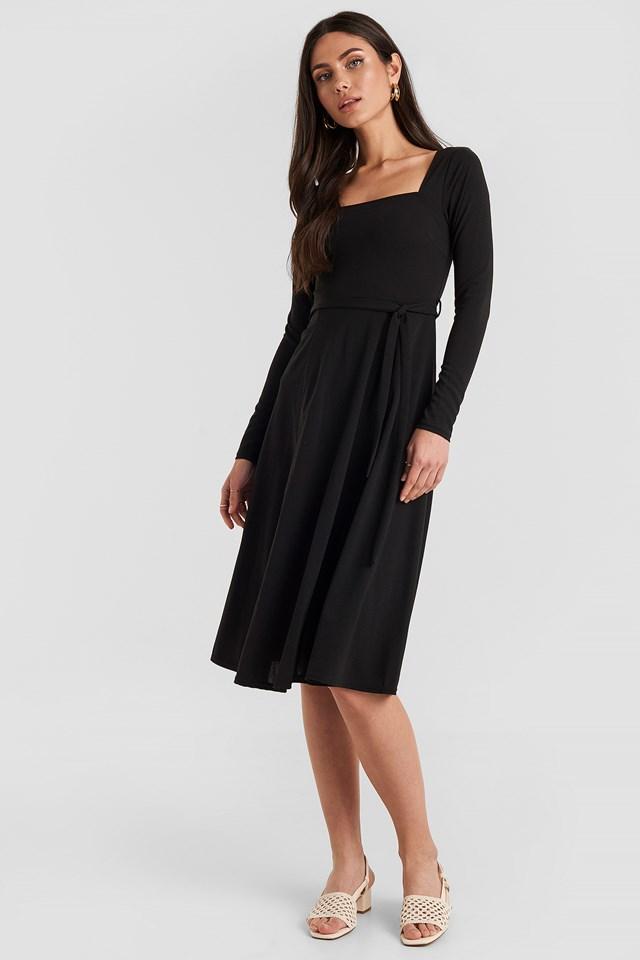 Tied Waist Square Neck Dress Black