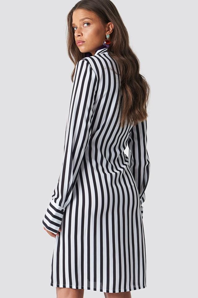 Tied Waist Striped Dress Black/White