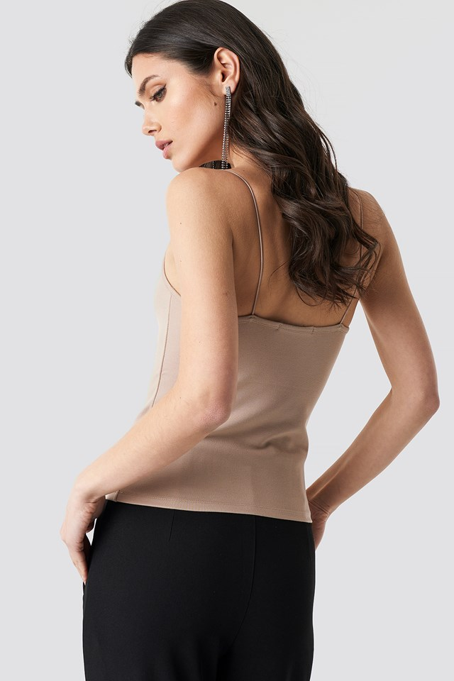 Tight Spaghetti Strap Singlet Dark Beige