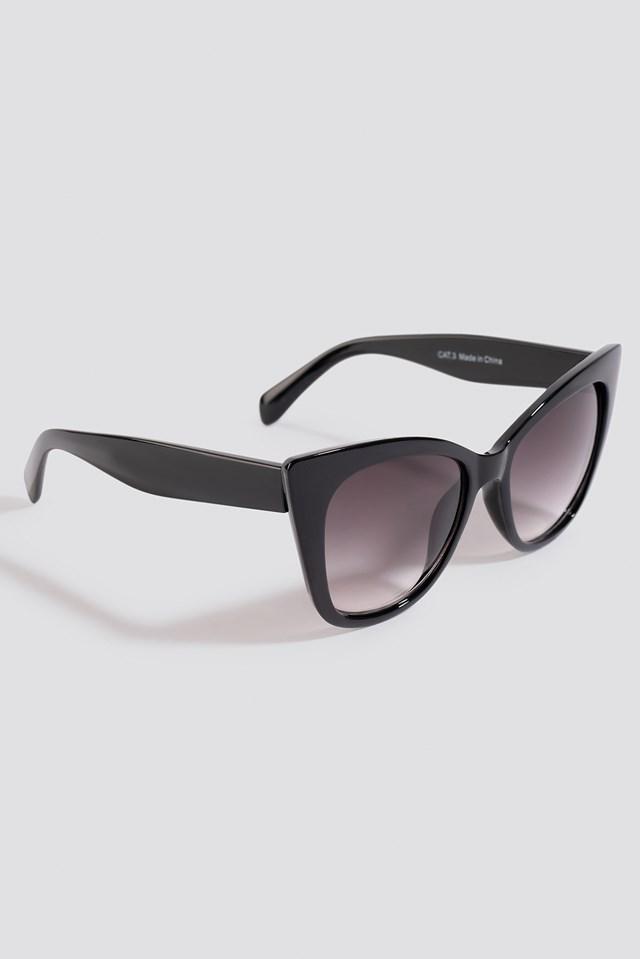 Top Edge Cateye Sunglasses Black