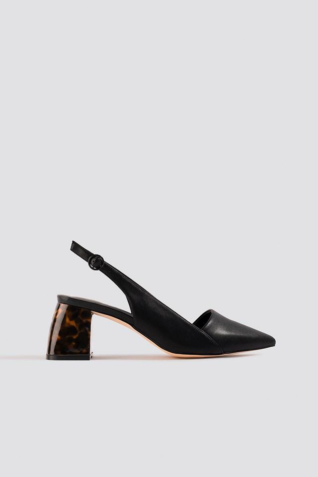 Tortoise Heel Slingback Pumps Black