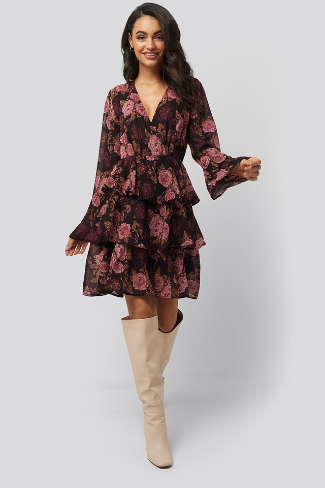 Triple Layer LS Flounce Dress Brown/Pink Flowers