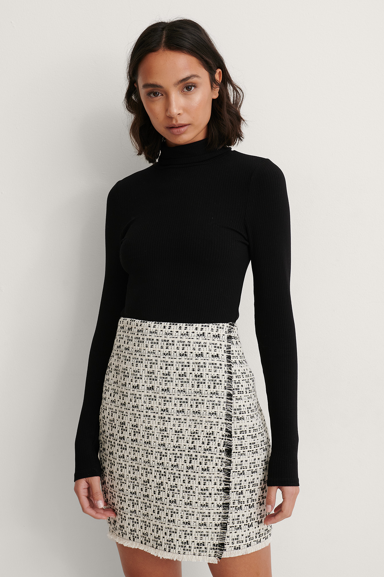 Black/White Raw Edge Tweed Skirt