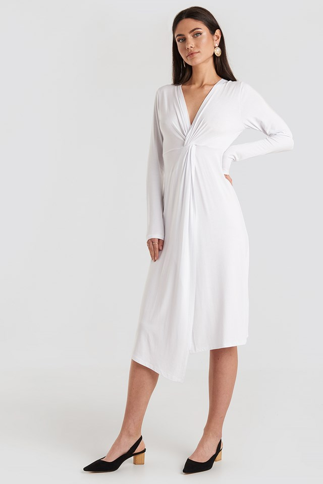 Twist Front Midi Dress Optical White
